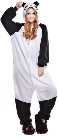 Sunrise Unisex Adult Panda Onesie Footed Pajama (Medium, Panda)