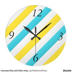 awesome blue and white stripes large clock