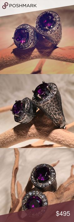 Byzantine imported handmade silver gem ring One of a kind. Imported. Handcrafted by Turkish artist. Renaissance era reproductions of Kings & Queens jewels. Can be adjusted some what. Hammered antique Sterling silver, purple Swarvoski gems and Cz. Individually set stones. Absolutely stunning in person! Very sparkly! Size 7-9.5 stretches open Jewelry Rings