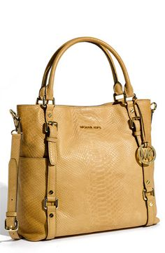 MICHAEL Michael Kors 'Bedford' Python Embossed Leather Tote