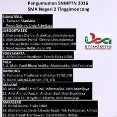 Hasil Sementara SNMPTN 2016, #smudama. Selamat bagi yang dinyatakan LULUS.
