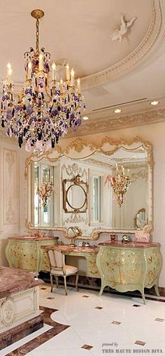 Delish! Love, love, love the amethyst chandelier