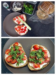 Goat cheese tomato sandwich. I dont eat cheese but this looks good lol