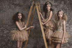 Soft tea shades from Miscka Aoki for spring/summer 2016 girls party dressing