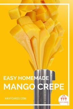 Easy Homemade Mango Crepe  This post will guide you on how to make mango crepes. These sweet crepes are ideal for a dessert treat for your loved ones and friends. It only requires some practice with swirling the pan while you are cooking crepes. That's it. So let's start to make some sweet and tasty mango crepes.  #howtomakeMangoCrepes #mangocrepesrecipes #havycakes #howtomakecrepes Crepe Delicious, Delicious Cake Recipes, Yummy Cakes, Dessert Recipes, Mango Crepes Recipe, Crepe Batter, How To Make Crepe, Mango Cake, Crepe Recipes