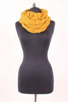 Safe & Sound Knit Infinity Scarf in Mustard