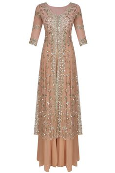 Astha Narang presents Peach and gold sequins and zari floral work jacket and sharara pants set available only at Pernia's Pop Up Shop.