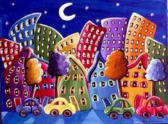 Fun Funky City Neighborhood Cityscape Colorful Whimsical Folk Art