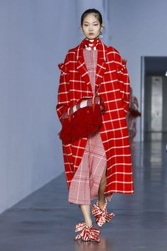 Classic and Trendy Print Check in Red and Pink at Mother of Pearl Fall Winter 2018 LFW