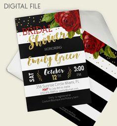 Digital Bridal Shower Invitation Red Rose Bridal by AlniPrints  #Bachelorette #Bridal #Shower #Invitation #brunch #idea #invite #Lingerie #party #dinner