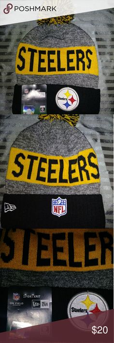 NFL New Era pom pom Pittsburgh Steelers beanie Unisex New Era NFL pom pom Pittsburgh Steelers beanie. One size fits most, fully lined, fully embroidered. NFL Accessories Hats