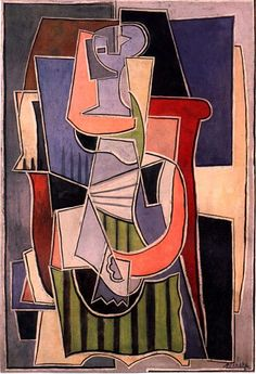 Woman Sitting In An Armchair Pablo Picasso Original Title: Femme assise dans un fateuil Date: 1920 Style: Cubism, Surrealism Period: Neoclassicist & Surrealist Period Genre: portrait Media: oil, canvas Dimensions: 89 x 130 cm