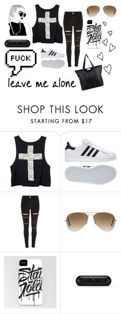 """F**k"" by metteaadahl on Polyvore featuring adidas, River Island, Ray-Ban, Beats by Dr. Dre and DAY Birger et Mikkelsen"