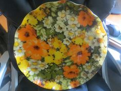 Mod Flowered  Orange Green Yellow  FAB Tray Hardy Glen Products Canada by HolySerendipity on Etsy