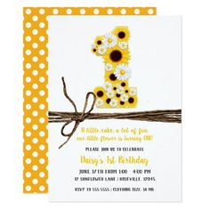 Shop Sunflowers & Daisies ONE Birthday Party Invitation created by printabledigidesigns. Sunflower Birthday Parties, Sunflower Party, Girl First Birthday, First Birthday Parties, Birthday Ideas, Birthday Diy, Grandma Birthday, Birthday Gifts, 1st Birthday Party Invitations