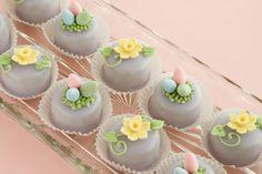Petit fours with easter gum paste decoration
