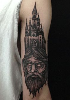 Castle on the Head of a Man. This one is pure evil tattoo, offering an evil person with the castle erected. Verse Tattoos, Head Tattoos, Body Art Tattoos, Tattoo Ink, Old Men With Tattoos, Arm Tattoos For Guys, Tatu Baby, Arte Viking, Mysterious Tattoo