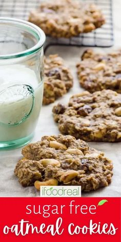 Sugar Free Oatmeal Cookies are healthy oatmeal cookies with oats, flaxseed, bananas, coconut oil, dried fruit and no flour or sugar. Truly sugarless, gluten free and vegan! Sugar Free Oatmeal, Healthy Oatmeal Cookies, Oat Cookies, Snack Recipes, Cooking Recipes, Flaxseed, Foods With Gluten, Dried Fruit, Bananas