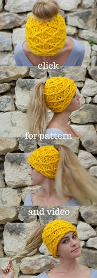 Ponytail hat crochet pattern. This makes the perfect gift for those who love to run in the winter! Grab the pattern or the hat itself.