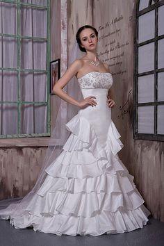 A-line Strapless Taffeta Sweep/Brush Train Wedding Dress