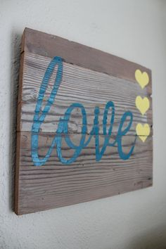 Love sign heart sign valentine wall sign wooden by BrandNewToMe