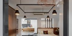 1000 square feet kitchen and wardrobe showroom design by Ashwin Architects in Bangalore. Retail Architecture, Architecture Design, Showroom Interior Design, Kitchen Showroom, Retail Design, Design Bedroom, Square Feet, Design Projects, Ceiling Lights