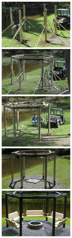 DIY backyard swing circle. I like this but I also like the idea of hammock chairs.