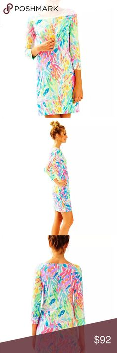 "Lilly Pulitzer Marlowe Dress Sparkling Sands Brightly printed, cotton dresses are always a great idea and the Lilly Pulitzer Marlowe Dress is just that great!  3/4 Length Sleeves With Boatneck And Curved Side Slits At Hem Above The Knee - 20"" From Natural Waist To Hem 100% Pima Cotton Jersey Machine Wash Cold Lilly Pulitzer Dresses"