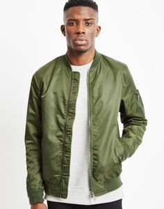 The Idle Man Lightweight Nylon MA-1 Bomber Jacket Khaki