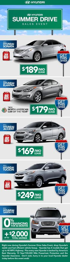 Hyundai Summer Sales Event has begun. So many fuel efficient vehicles at great prices!