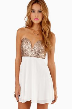 gold & white party dress