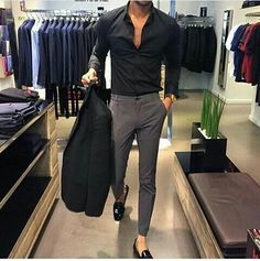 Grey pants Black fitted shirt Black blazer Black loavers