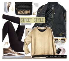 """Gold & ... BLACK!"" by aidasusisilva ❤ liked on Polyvore featuring Wolford, Someday Soon, STELLA McCARTNEY, Moschino, Rifle Paper Co, VALENTINE GAUTHIER and Vans"