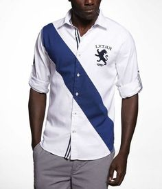 CHEST STRIPE FITTED OXFORD SHIRT at Express