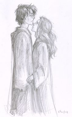 """…and Harry thought inexplicably of Ginny, and her blazing look, and the feel of her lips on his—"" Deathly Hallows. art by burdge. beauuuutiful"