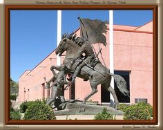 Bronze Statue Symbolizing the Rebels on the Dixie State College Campus in St. George, Utah - UPDATE: it was removed when the collage became a university and the mascot changed to Red Storm