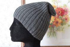 Grey Wool Hat Watch Cap Style Men & Women Hand Knit Beanie