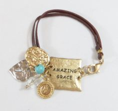 Cowgirl Bling AMAZING GRACE Charms Gypsy BRACELET Leather Hammered metal all JEWELRY SHIPS FREE! www.baharanchwesternwear.com baha ranch western wear ebay seller id soloedition