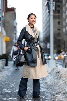 layered outfit with robe coat