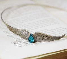 Wing headband teal jewel vintage style silver by mylavaliere,