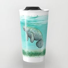 "Ceramic travel mug ••• ""Mossy Manatee"" - watercolor art ~ Endangered species series by Amber Marine. ••• AmberMarineArt.com •••"