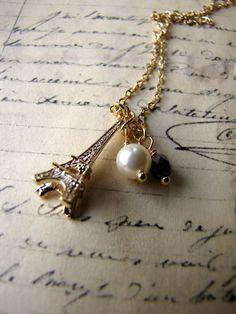 Eiffel Tower Necklace Paris Romantic Gold by nancywallisdesigns