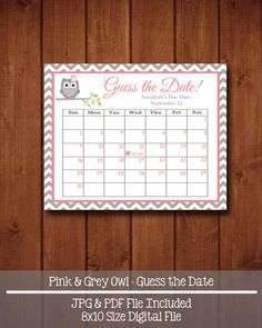 Guess the Date Pink & Grey Owl Baby Shower by swtleilanidesigns Baby Shower Fun, Baby Shower Gender Reveal, Girl Shower, Baby Shower Cakes, Baby Shower Themes, Baby Showers, Shower Ideas, Aviation Nursery, Baby Pool