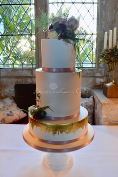 Champagne Gold Leaf wedding cake by Blossom Tree Cake Company, Harrogate, North Yorkshire