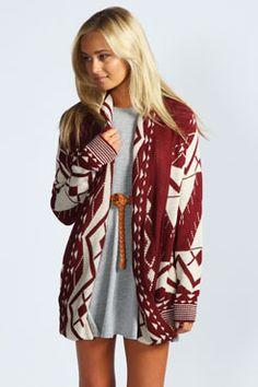 maroon and cream. long. cardigan. sweater. print.