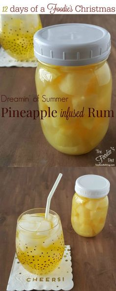 Dreamin' of Summer Pineapple Infused Rum + a sunny cocktail recipe! Close your eyes and you can almost picture the beach! Day 3 of the 12 days of a Foodie's Christmas special!