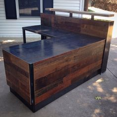 Reclaimed Wood & Steel Reception Desk by RevivalSupplyCo on Etsy