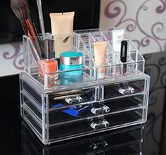 Homcom Clear Acrylic Make Up Case Box Cosmetic Jewellery Nail Polish Organiser Display Stand w/ Drawers (Model 2)
