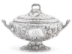 An American  sterling silver floral-repoussé-decorated two-handled covered soup tureen by Gorham Mfg. Co., Providence, RI,  1896