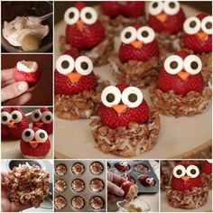 These sweet strawberry owls with crispy nests  are seriously so adorable!  They are perfect for any party and a healthy summer snack for picky kids.:)  Recipe--> http://wonderfuldiy.com/wonderful-diy-sweet-strawberry-owls-with-crispy-nests/  More #DIY projects: www.wonderfuldiy.com